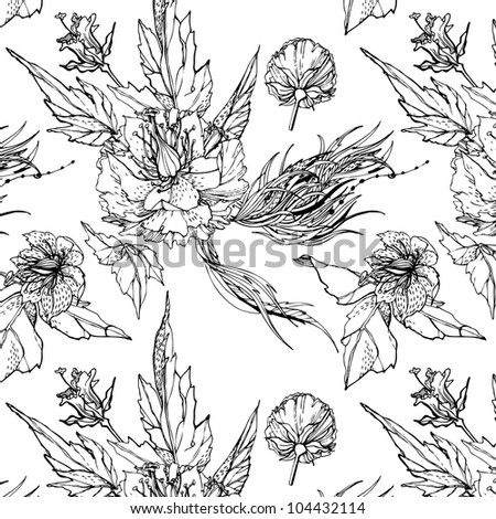 Floral seamless pattern. Black and white background
