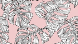 Floral seamless pattern, black and white split-leaf Philodendron plant on pink background, line art ink drawing