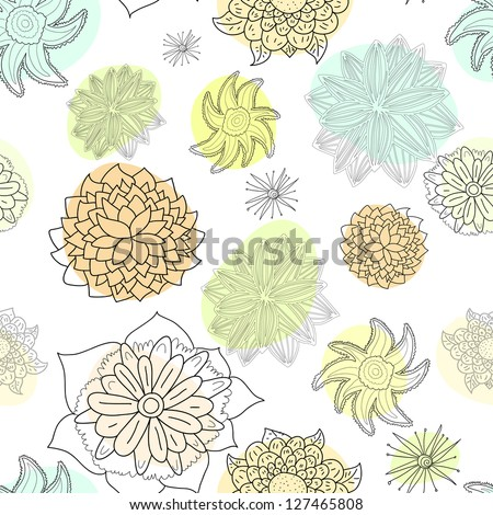 Floral seamless pattern: black flowers\' outlines on white background with pastel colored blobs