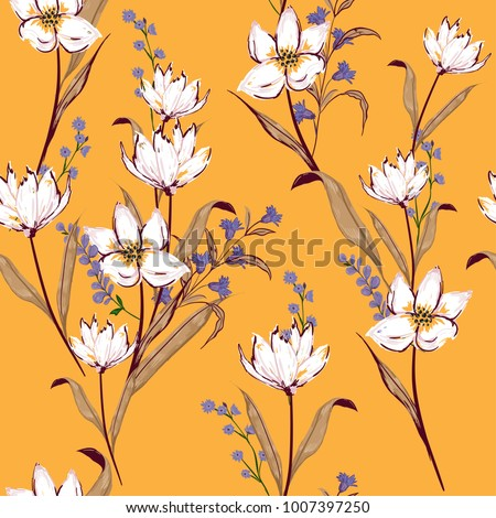 Floral seamless pattern blooming white flowers Botanical  Motifs scattered random. Seamless vector texture. Elegant template for fashion prints. Printing with in hand drawn style on orange.
