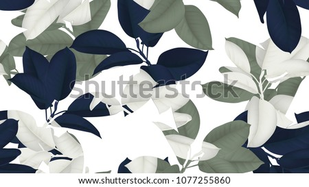 Floral seamless pattern, blue, green and white Ficus Elastica / rubber plant on white background - Shutterstock ID 1077255860