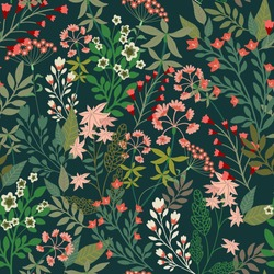 Floral seamless pattern. Botanical elements of plants are densely arranged on a dark background. Vector for textile, wallpaper, tile