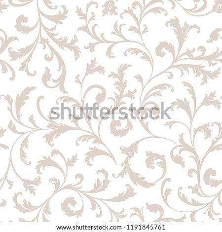 Floral seamless pattern. Branch with leaves ornament. Flourish nature garden textured background