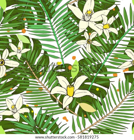 Floral seamless pattern. Collection with tropical leaves and flowers in sketch style. Vector illustration.