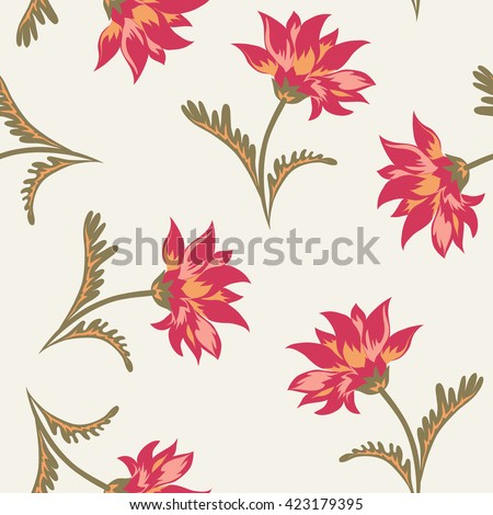 Floral seamless pattern. Decorative background with classical flowers for gobelin print. Vector illustration.