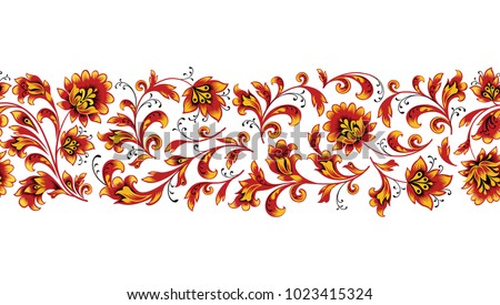 Floral seamless pattern design element. Flower border ornament. Ornamental flourish background, ethnic russian style over white  background.