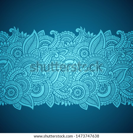 Floral seamless pattern. Doodle vector background with flowers, leaves. Indian ornament. Colorful oriental design in mendi style. Vector abstract illustration. Stock photo ©