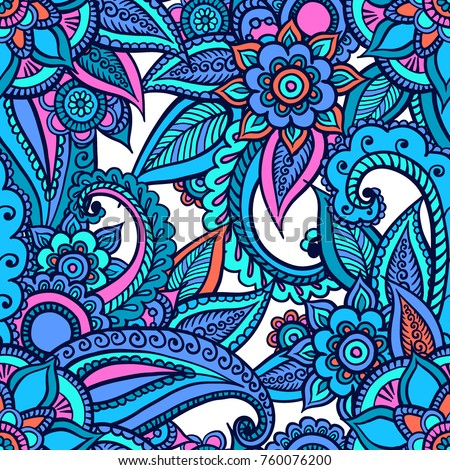 Floral seamless pattern. Doodle vector background with flowers, leaves. Indian ornament. Colorful oriental design. Vector pattern in mendi style. Paisley.  Stock photo ©