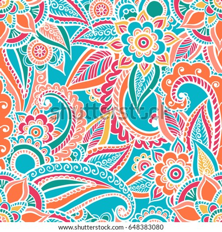 Floral seamless pattern. Doodle vector background with flowers, leaves. Indian ornament, henna style. Colorful oriental design. Vector pattern in mendi style. Paisley.