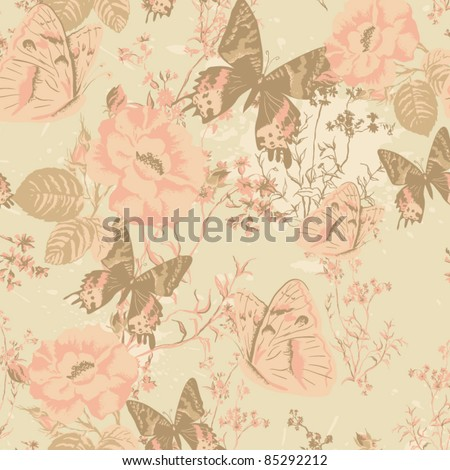 Floral seamless pattern, endless texture with flowers. Vector background for textile design.  Vector ornament with butterflies and roses in vintage style. Wallpaper, background.