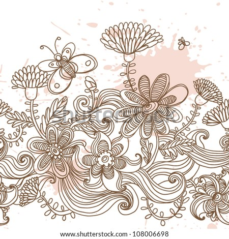 Floral seamless pattern,  endless texture with flowers Wallpaper, background.