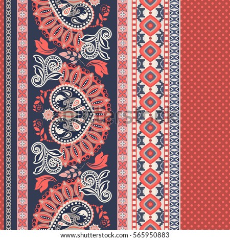 Floral seamless pattern. Ethnic border ornament. Egyptian, Greek, Roman style. Stylized flowers and shapes background. Floral geometric line pattern. Design for, textile, web, wrapping paper