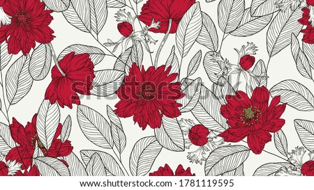Floral seamless pattern, eucalyptus leaves and anemone flowers line art ink drawing in red and dark grey Stockfoto ©