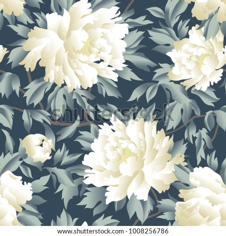 Floral seamless pattern. Fantastic flowers chinese style background. Flourish wallpaper with plants and flowers chrysanthemum.