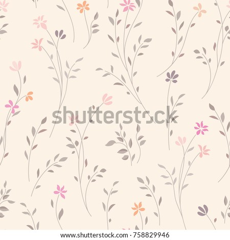 Floral seamless pattern. Flourish garden texture with flowers.