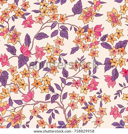 Floral seamless pattern. Flourish garden wallpaper with flowers.