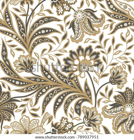 Floral seamless pattern. Flourish tiled oriental flower ethnic background. Arabic ornament with fantastic flowers and leaves. Wonderland motives of ancient Indian fabric patterns.