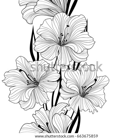 Floral seamless pattern. Flower background. Border with flowers. Flourish tiled wallpaper