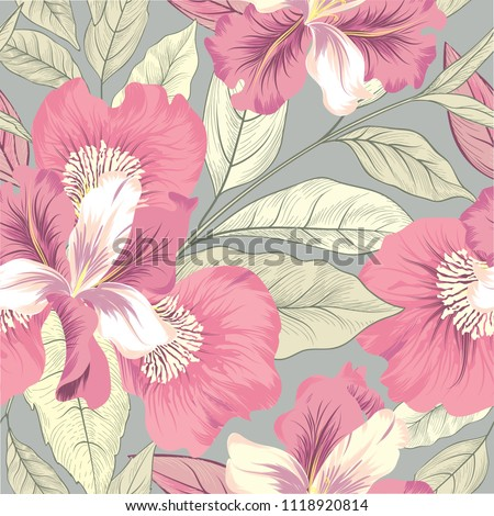 Floral seamless pattern. Flower background. Flourish garden texture with flowers.