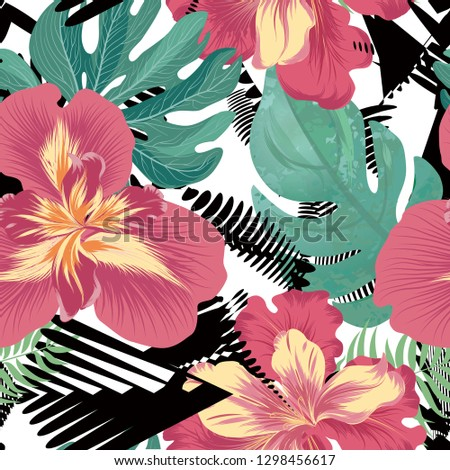 Floral seamless pattern. Flower background. Flourish garden texture with flowers iris. Flourish nature garden textured wallpaper