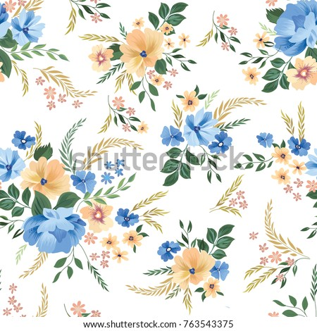 Floral seamless pattern. Flower background. Flourish garden wallpaper with flowers.