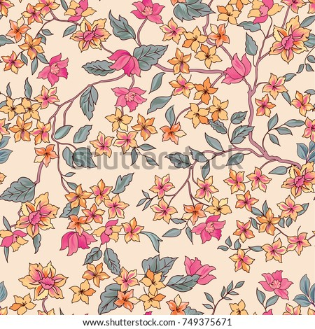 Floral seamless pattern. Flower  background. Flourish ornamental garden