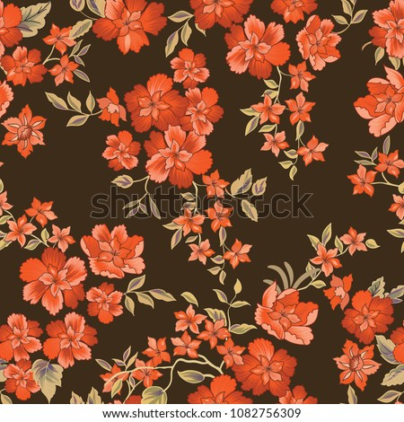 Floral seamless pattern. Flower background. Flourish ornamental summer wallpaper with flowers.