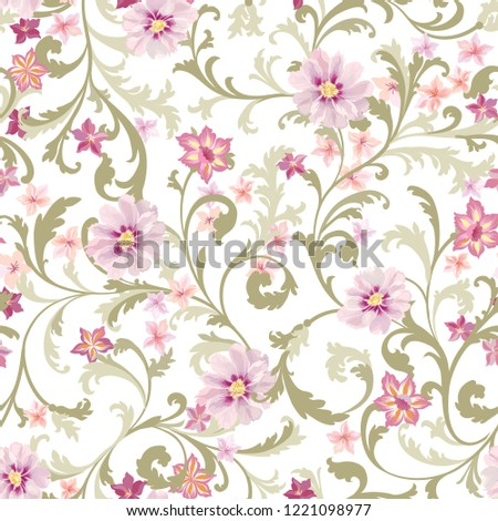 Floral seamless pattern. Flower background. Flourish texture with flowers and leaves. Textured garden wallpaper