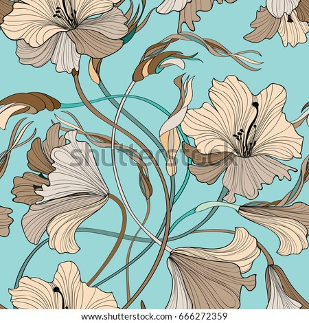 Floral seamless pattern. Flower bloom bouquet background. Ornamental garden