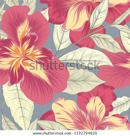 Floral seamless pattern. Flower iris background. Flourish garden texture with flowers and leaves. Nature textured wallpaper