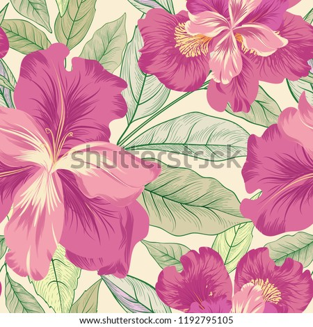 Floral seamless pattern.  Flower iris background. Flourish garden texture with flowers and leaves. Flourish nature textured wallpaper