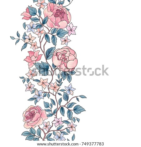 Floral seamless pattern. Flower peony border background. Greeting card design with flowers.