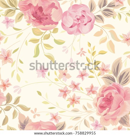 Floral seamless pattern. Flower rose and leaves on pastel background. Garden flourish wallpaper.