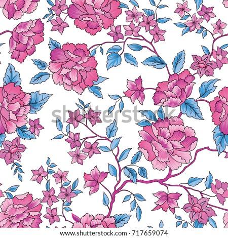 Floral seamless pattern. Flower rose background. Flourish ornamental garden