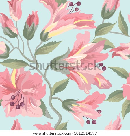 Floral seamless pattern. Flower rose  background. Flourish wallpaper with flowers.