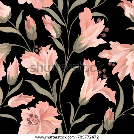 Floral seamless pattern. Flower rose black background. Flourish wallpaper with flowers.