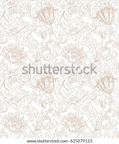 Floral seamless pattern for your design. Modern fabric design pattern. Floral seamless pattern for coloring. Vector illustration. Backgrounds.
