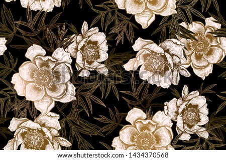 Floral seamless pattern. Garden flowers peonies and leaves. Black and print gold foil. Vector illustration. Hand realistic drawing. Vintage. Background to create paper, wallpaper, summer textile.