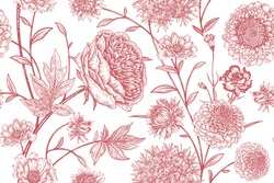 Floral seamless pattern. Garden flowers peonies, branches and leaves. Red and white vector illustration. Hand drawing. Vintage. Decorative background to create paper, wallpaper, summer textile.