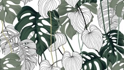 Floral seamless pattern, green, black and white split-leaf Philodendron plant with vines on white background, pastel vintage theme