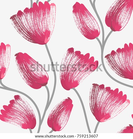 Floral seamless pattern. Hand drawn creative flowers. Artistic background. Abstract herb. Stain of paint. Can be used for wallpaper, textiles, wrapping, card, cover. Vector illustration, eps10