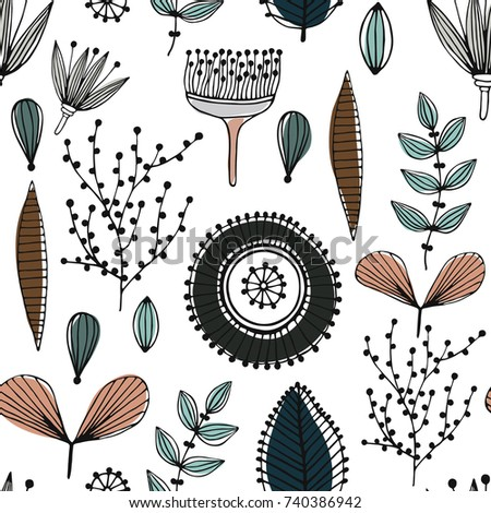 Stock Photo Floral seamless pattern. Hand drawn creative flowers. Lines and strips. Abstract herbs. Outline. Creative design. Can be used for wallpaper, textiles, wrapping, card, cover. Vector illustration, eps10