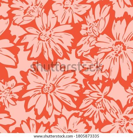 Floral seamless pattern. Hand drawn large flower buds. Flower silhouettes. Botanical background. Summer garden texture. Foto d'archivio ©