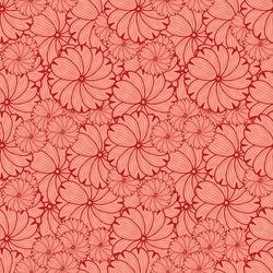 Floral seamless pattern in art Nouveau style. Decorative pattern with stylized asters in red tones for fabrics, wrapping paper or wallpaper. Vector illustration.