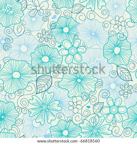 Floral seamless pattern in blue mood