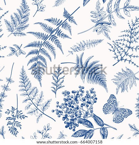 Floral seamless pattern in vintage style. Various leaves of ferns, berry and butterfly. Vector botanical illustration. Blue.