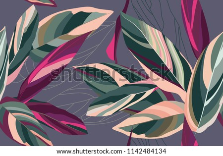 Floral seamless pattern. Leaves of Cordelia on a dark gray background. Botanical pattern.