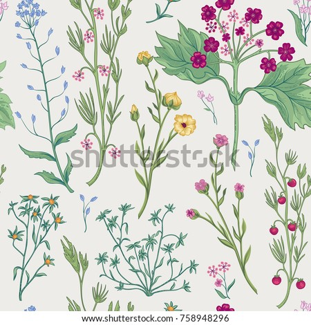 Floral seamless pattern. Nature vegetation background. Flourish wallpaper with berries and flowers.