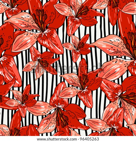 Floral seamless pattern on a striped background, endless texture with flowers in vintage style.  Wallpaper, background.