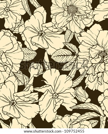 Floral seamless pattern on dark background